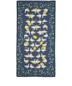 Karen Mabon Blue The Goose That Laid Golden Eggs Modal-Blend Scarf | Scarves | Liberty.co.uk Whimsical and brilliantly British, this Karen Mabon scarf is a playful take on the classic fairy tale. The large size is best for wrapping around the neck - try it with clashing bright colours.  FEATURES Goose and golden eggs print Gently frayed ends Made in Italy COMPOSITION 93% Modal, 7% Cashmere  DIMENSIONS 100cm x 200cm