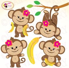 Clipart Cute Girl Monkeys with Bananas Zoo Safari clip art Sweet digital papers images Designer set for personal & commercial use pf00015-2. $3.99, via Etsy.