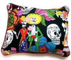 Small Los Novios Dia de los Muertos Pillow by WinkArtisans on Etsy, $18.00