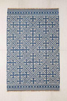 Seawell Indigo Wool Woven Rug - Urban Outfitters