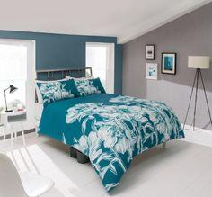 pieridae Amelia Drap-housse Bleu sarcelle complet Housse de couette et 1taie d'oreiller Motif floral, Polycoton, Turquoise, Double