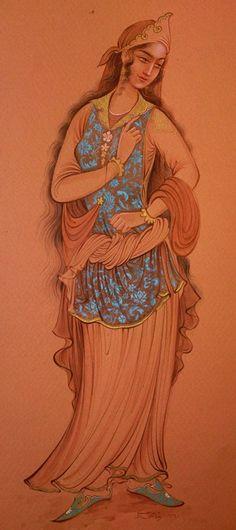The Safavi girl; 2011; Ink & gauache on paper; by Reza Mahdavi www.persianpainter.com