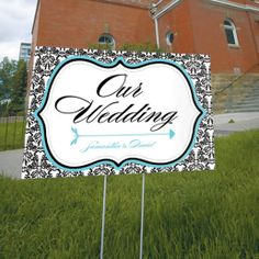 Love Bird Damask Wedding Directional Sign.  directional sign.