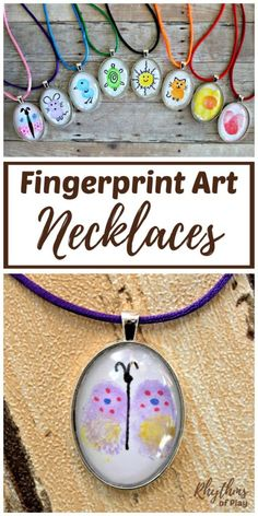 Use your fingers and thumbs to create fingerprint artwork! Then, take your creation and turn it into a necklace! DIY fingerprint art necklaces are an fun, easy & personalized craft...and they make the perfect gift! | #RhythmsOfPlay #DIYGift #HandmadeGift #JewelryMakingForKids #KidsCraft #CraftsForKids #FingerprintArt