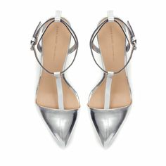 LAMINATED HIGH - HEEL SANDALS WITH ANKLE STRAPS - Shoes - Woman | ZARA United States