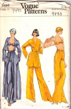 Vogue 9493 1980s Misses Cover Mini Maxi Wrap Cover Up Halter Bra Pull On Straight Leg Pants and Head Scarf womens vintage sewing pattern by mbchills