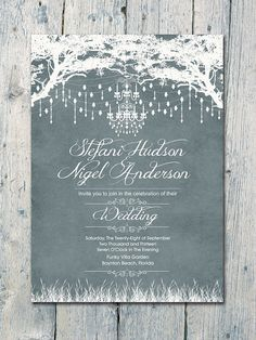 Set of 75 - Grey - Royal Winter Garden Wedding Invitation and Reply Card Set…