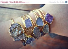 VACATION SALE LUX Divine Druzy Stackable Gold by luxdivine on Etsy, $51.00