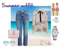 """""""Summer outfit"""" by malinandersson on Polyvore featuring Ray-Ban, Yves Saint Laurent, Sebastian Professional, H&M and Valentino"""