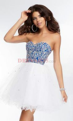 Short prom dress in blue and white - I love this n royal blue is so cute especially with the white