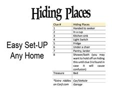Indoor Rhyming Treasure Hunt Clues Scavenger Printable