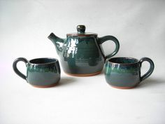 Pottery Teapot with Matching Teacups by DragonPottery on Etsy