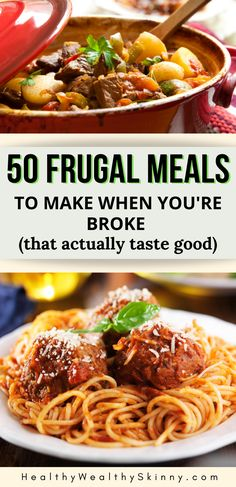 Discover 50 Frugal Meals that you can make when your money is low. These cheap meals will help you save money on groceries and feed your family healthy meals that actually taste good. Save these frugal dinner recipes for your weekly meal planning. Healthy Family Meals, Healthy Pastas, Healthy Crockpot Recipes, Healthy Food, Frugal Meals, Budget Meals, Easy Meals, Frugal Tips, Dinner On A Budget