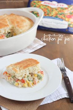 Quick and easy chicken pot pie recipe using baking mix, frozen veggies, and NO cream of chicken soup!