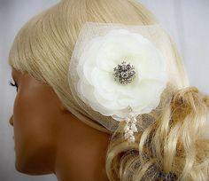 Ivory Bridal Fascinator Hair Clip  Bridal Head by AGoddessDivine, $79.00
