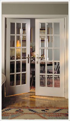 Interior french door with decorative glass