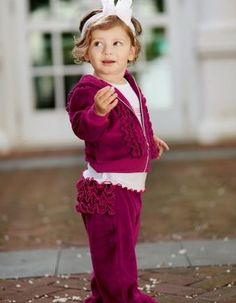 Burgandy Velour Ruffle Sweatsuit | Shop for your lil girl at www.ShopHoityToity.com