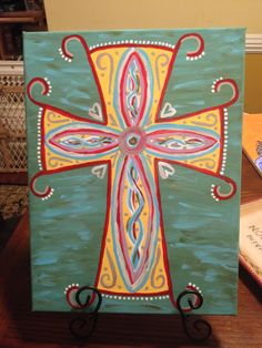 DIY canvas cross painting Horton Horton Horton Helms this looks like your style! Diy Canvas, Wall Canvas, Canvas Art, Canvas Ideas, Diy Wall Art, Diy Art, Cross Canvas Paintings, Painting Canvas, Hand Painted Crosses