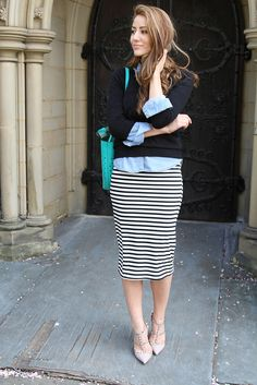22 Trendy Street Style With Tube Skirts - just can't do those heels!