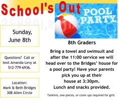 8th Grade Pool Party! June 8th