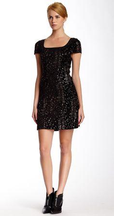 Rachel Zoe   Edie Cap Sleeve Silk Contrast Evening Dress