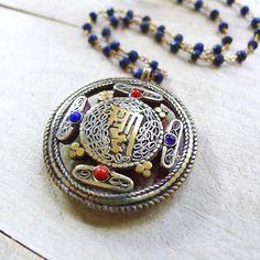"18"" Lapis Lazuli Beaded Rosary Necklace with Tibetan Kalachakra Pendant"