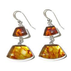AMBER LOVE  . . .    Jay King Amber Sterling Silver Double Drop Earrings