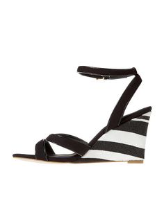 Striped Canvas Wedge Sandals - Ann Taylor