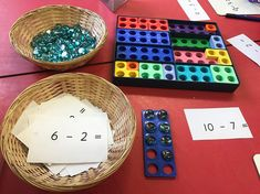 We are doing subtraction this week. This is one of our subtraction activities using numicon. The children have to pull a subtraction number… Maths Eyfs, Preschool Math, Kindergarten Math, Eyfs Classroom, Teaching Math, Teaching Ideas, Classroom Ideas, Numicon Activities, Number Activities