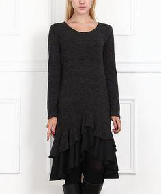 Charcoal Ruffle Drop-Waist Dress