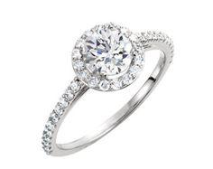 14k Rose Gold Halo Diamond Moissanite Engagement von LaMoreDesign