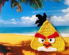 Angry Birds Crochet applique Yellow Bird Chuck Pattern