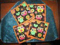 Bright Owls and Hearts on Black Fabric Coasters by TahoeQuilts