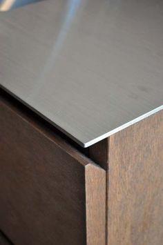 Stainless Steel Furniture, Stainless Steel Counters, Stainless Steel Kitchen, Kitchen Tops, Kitchen Cupboards, Kitchen Door Designs, Casa Wabi, Joinery Details, Counter Design