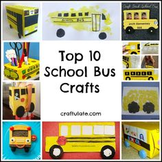 Top 10 School Bus Crafts - perfect for heading back to school! Craft Activities For Kids, Preschool Crafts, Crafts For Kids, Sensory Activities, School Bus Crafts, Student Crafts, School Bus Safety, Wheels On The Bus, School Themes