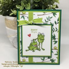 Let's Hop Right On It – Jumping into Stamping Kids Cards, Baby Cards, Stampin Up Karten, Wedding Anniversary Cards, Wedding Cards, Card Kit, Card Card, Stamping Up Cards, Animal Cards