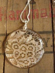 Vintage lace handmade  pendant necklace. $20.00, via Etsy.