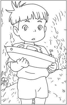 Ponyo birthday invitation ghibli japanese anime invite for Ponyo coloring pages