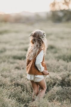 Rylee & Cru lookbook, kids photography, meadow, boho, woodland, forest, floral wreath, girls dress, natural, sunset