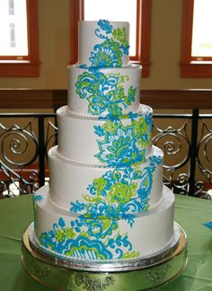 Turquoise & Lime Paisley Patterned White Cake Picture