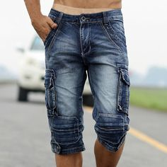 Cheap cargo denim, Buy Quality short style directly from China mens denim cargo shorts Suppliers: MORUANCLE Mens Retro Cargo Denim Shorts Vintage Acid Washed Faded Multi-Pockets Military Style Biker Short Jeans Plus Size Cargo Jeans, Biker Jeans, Mens Cargo, Men's Jeans, Mode Shorts, Denim Shorts, Men's Denim, Blue Denim, Casual Shorts