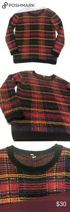 """BDG Oversized Plaid Sweater Excellent condition! Worn a couple times and it's still like new. Super comfy and perfect for the winter. From Urban Outfitters! Size L. Measurements: 23.5"""" bust lying across, 30"""" shoulder to hem, 26"""" sleeves. No trades or lowball offers please. BDG Sweaters"""