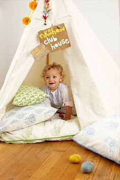 Cute pillows. . and Tepee - Also love the play with patterns -#projectnursery #franklinandben #nursery