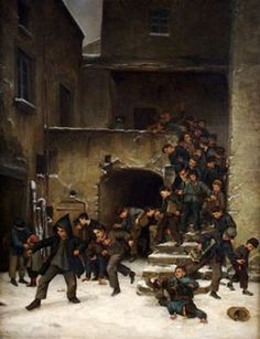 Boys Going Out Of School -  by Pierre Edouard Frere (1819 - 1886, French)