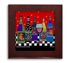 Dachshund Wine Lovers Gift - Doxie Dog Art Mexican Folk Art Ceramic Framed Tile by Heather Galler - Ready To Hang Tile Frame Gift