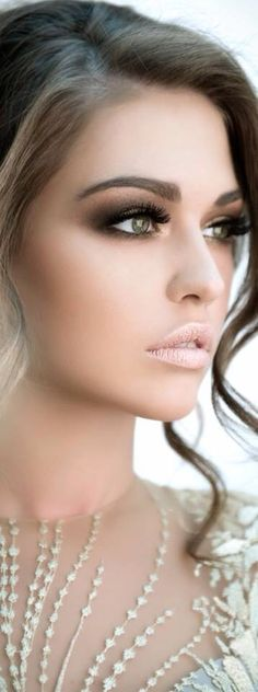 Dark eye makeup and nude lips - dramatic look - for more amazing wedding ideas, tools and tips visit us at Bride's Book
