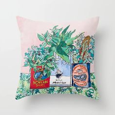 Jungle Botanical In Colorful Cans On Pink - Still Life Couch Throw Pillow by Lara Lee Meintjes - Cover x with pillow insert - Indoor Pillow Throw Cushions, Couch Pillows, Designer Throw Pillows, Down Pillows, Accent Pillows, Garden Nursery, Fluffy Pillows, Pillow Design, Pillow Inserts