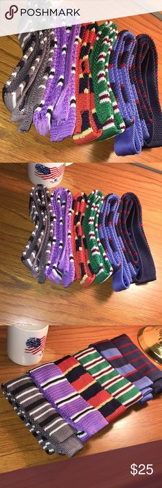 Six Hand-Knit Neckties Six Hand-Knit Neckties. Gray, Purple, Orange, Green, Light Blue, and Navy Blue. Excellent Condition. Negotiate Price(s) Accessories Ties