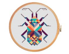 Summer bike with basket in bright colors by PatternsCrossStitch