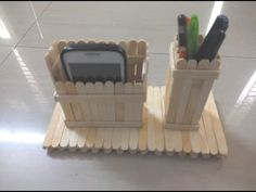DIY: How to make mobile phone and pen stand using ice cream sticks/ popsicle sticks - YouTube